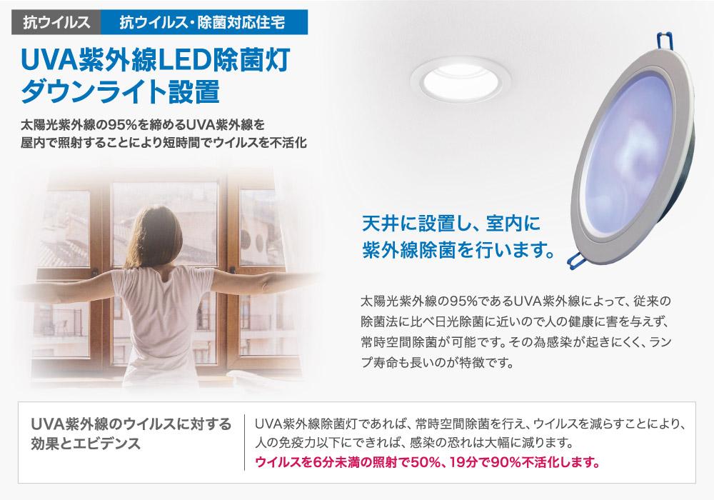 UVA紫外線LED除菌灯ダウンライト設置